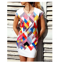 Chic Scoop Collar Short Sleeve Geometric Print Dress For Women
