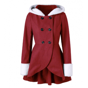 Plush Hooded Double Breasted Tunic Coat - Red