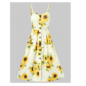 Spaghetti Strap Sunflower Print Mini Dress - White
