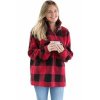 White Buffalo Plaid Sherpa Pullover Red