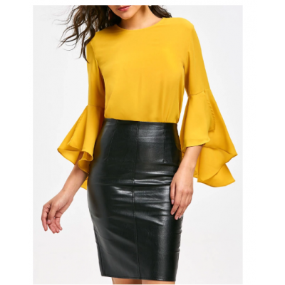 Flare Sleeve Blouse with Flounce - Yellow