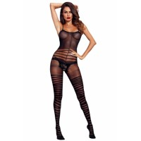 Square Neckline Asymmetric Stripes Bodystocking