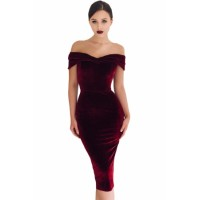 Wine Red Off Shoulder Ruched Velvet Party Dress Black Blue