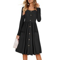 Black Casual Button Down Long Sleeve Swing Dress Blue Green