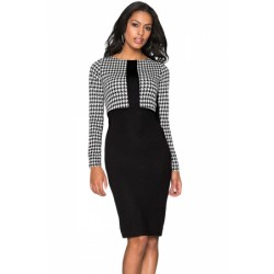 Black Houndstooth Patchwork Pencil Midi Dress Blue