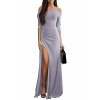 Gray Metallic Glitter Off Shoulder Maxi Party Dress Blush Mauve Pink Blue Black