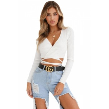 White Wrap V Neck Tie Waist Ribbed Crop Top Black