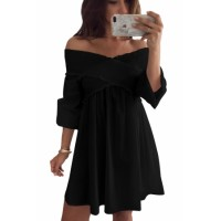 Black Crossed Smocking Off Shoulder Mini Dress
