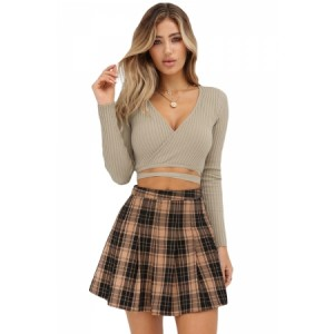 Khaki Wrap V Neck Tie Waist Ribbed Crop Top