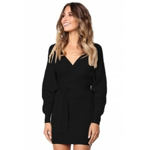 Black Long Sleeve V Neck Tied Sweater Dress Olive