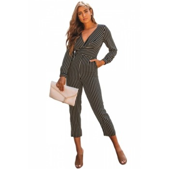 Black Striped Wrap V Neck Long Sleeve Jumpsuit Red