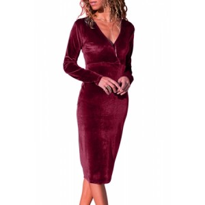 Burgundy V Neck Sleek Velvet Midi Dress