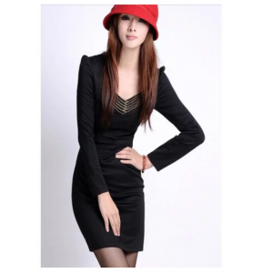 Elegant Slim-Fit Solid Color Zipper Design V-Neck Long Sleeves Dress For Women - Black