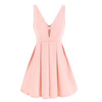 Fahion Plunging Neck Sleeveless Solid Color Zippered Dress For Women - Pink