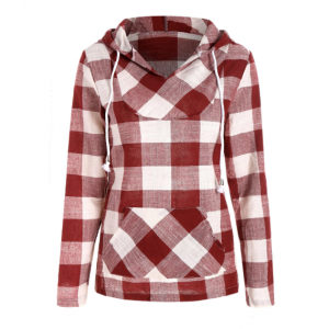 Kangaroo Pocket Plaid Hoodie - Red