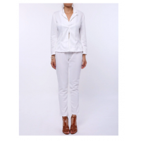 Stylish Lapel Long Sleeve Solid Color Blazer + Skinny Pants Twinset For Women - White