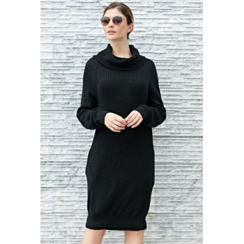 Apricot Heap Collar Mini Knit Dress Gray Black