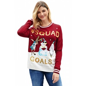 Back SQUAD GOALS Christmas Snowman RED