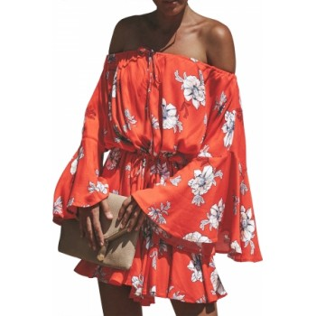 Red Floral Print Slouchy Chic Holiday Playsuit White