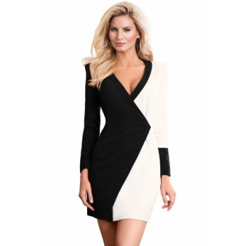 Black White Color Block Faux Wrap Mini Dress