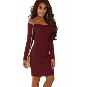Burgundy Button Front Ribbed Bardot Mini Dress