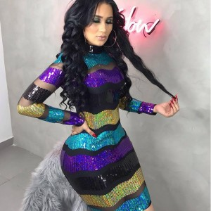 Sexy Mesh Sheer Striped Sequin Dress Women Turtleneck Long Sleeve Bodycon Mini Dress Elegant Club Sparkly Party Dresses Vestidos