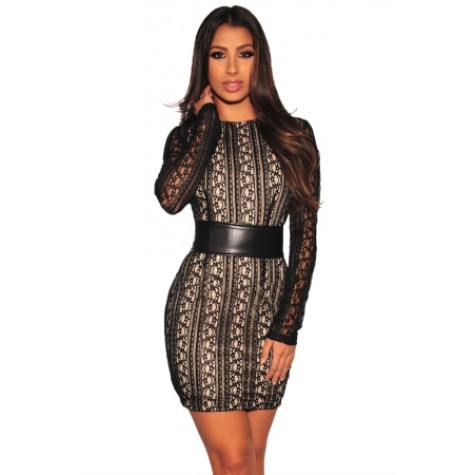 Black Lace Nude Illusion Corset Belted Mini Dress Red Black