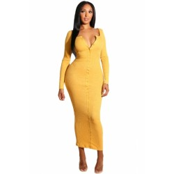 Black Long Sleeve Snap Button Ribbed Dress Yellow