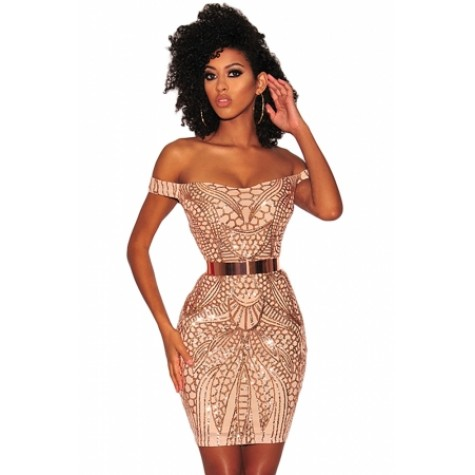 25c5ffe3e2f1 Gold Sequined Nude Illusion Off Shoulder Dress (Gold Sequined Nude ...