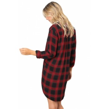 Black White Plaid Pocket Style Shirt Dress Red