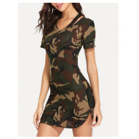 Camouflage Print Mini Bodycon Dress - Camouflage Green
