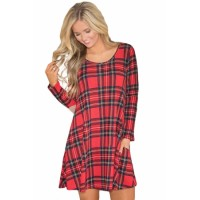 Contrast Elbow Patch Red Plaid Swing Dress