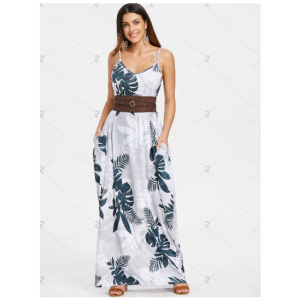 Spaghetti Strap Leaf Print Maxi Dress - Green