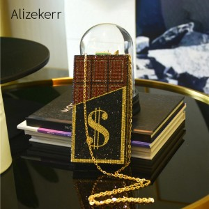Shiny Diamonds Money Evening Clutch Bags Women New Elegant Small Square Rhinestones Dollar dinner Handbags Party Chain Purse