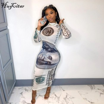 Hugcitar 2020 long sleeve print mesh see-through bodycon sexy maxi dress autumn winter fashion streetwear outfits party wear