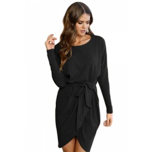 Black Casual Tie Waist Long Sleeve Mini Dress Gray