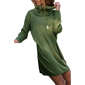 Black Ribbed Cowl Neck Lightweight Sweater Dress Green