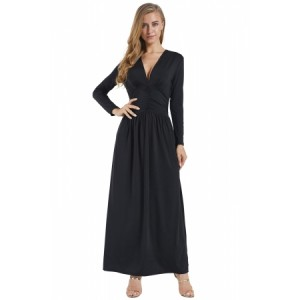 Black Vintage Inspired V-neck Long Sleeve Maxi Dress