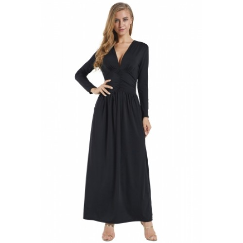 Black Vintage Inspired V Neck Long Sleeve Maxi Dress Black Vintage