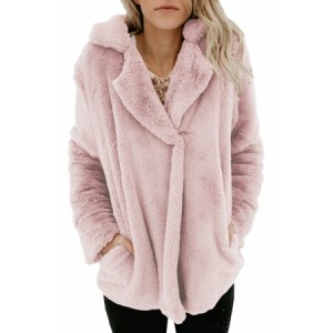 Blush Pocket Style Fluffy Winter Coat Khaki Brown Black