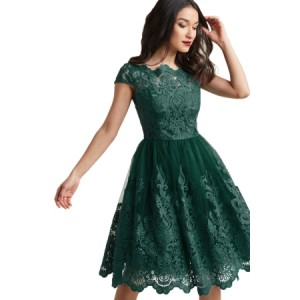Dreamy Green Lace Embroidered Prom Dress Black