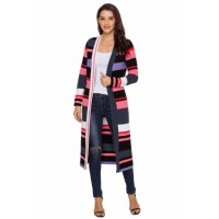Multicolor Striped Colorblock Open Front Long Cardigan Colorful