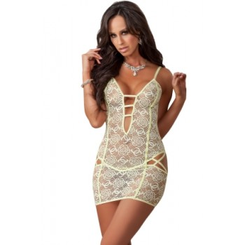 Yellow Rose Lace Strappy Lingerie Dress Blue