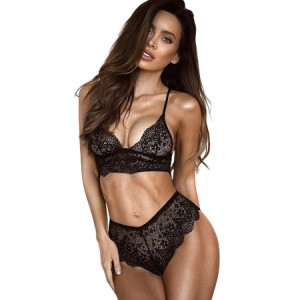 Black Lace Bralette Erotic 2pcs Lingerie Set