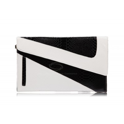 Party Women's Clutch With Crocodile Veins and Color Matching Design