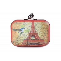 Party Women's Evening Bag With Eiffel Tower Print and Kiss-Lock Closure Design