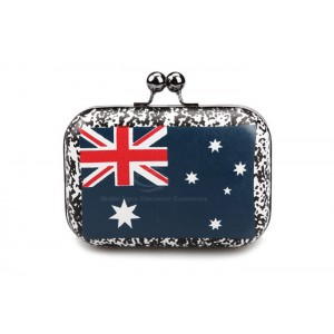 Party Women's Evening Bag With Hard Shell and Flag Pattern Design