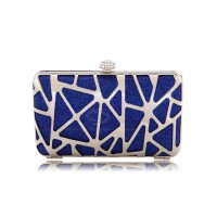 Party Women's Evening Bag With Metallic Rhinestone and Blue Design