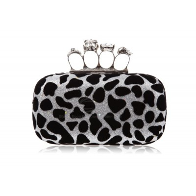 Party Women's Evening Bag With Rhinestone and Leopard Print Design