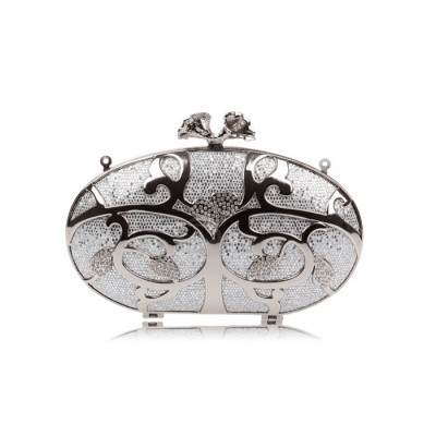 Party Women's Evening Bag With Rhinestone and Metallic Design